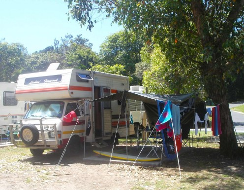 Our camp at Clarkes beach, Byron Bay
