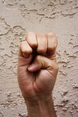 Fingers and thumb bent inward.