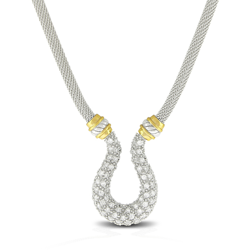 Rhodium plated gold touch necklace