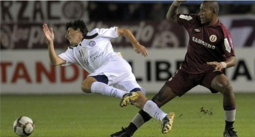 Tripped. Gonzalo Castillejos falling like a timber here as he was tripped by Jesus Rabanal in a piece of action in Copa Libertadores in Buenos, Aires Brazil. Photo from Getty Images, FIFA.com