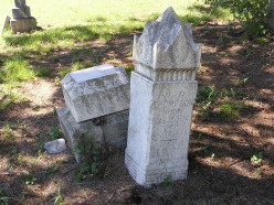 Cottonwood Cemetery, Texas. The top has fallen off the base of this marker.