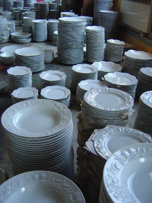 White plates in the factory shop of Royal Limoges Porcelaine