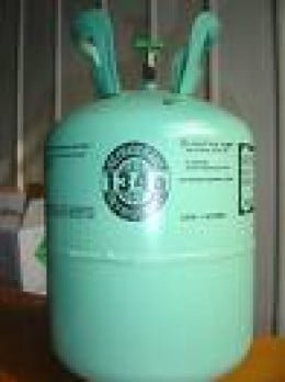 A thirty pound jug of refrigerant twenty two