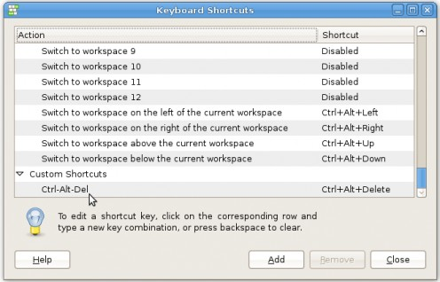 "The new Ctrl-Al-Del entry in the ""Keyboard Shortcuts"" windows"