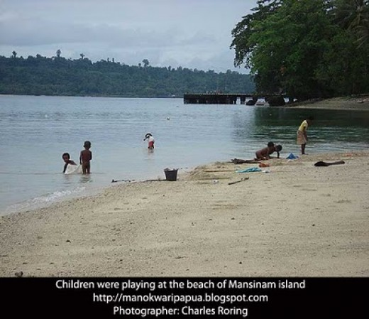 children were playing at the beach of Mansinam island