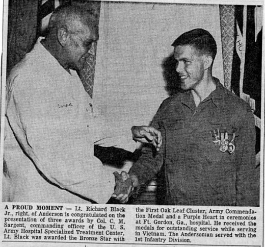 The picture of my brother receiving awards for his service in Vietnam