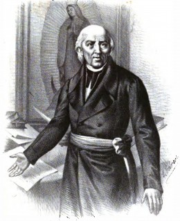 "Lithography of Fray Miguel Hidalgo, leader of the ""Grito de Dolores"" (Mexican 1810's claim for Independence). Notice the image of the Virgen de la Guadalupe on the background/Artist: Luis Garcs, 1873"