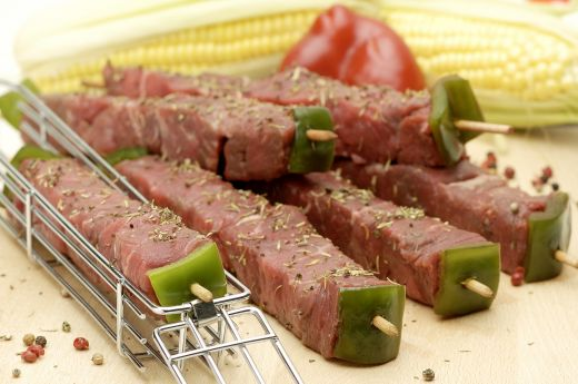 Delicious Meat Cubes Kebab Ready to Grill from Dreamstime.com