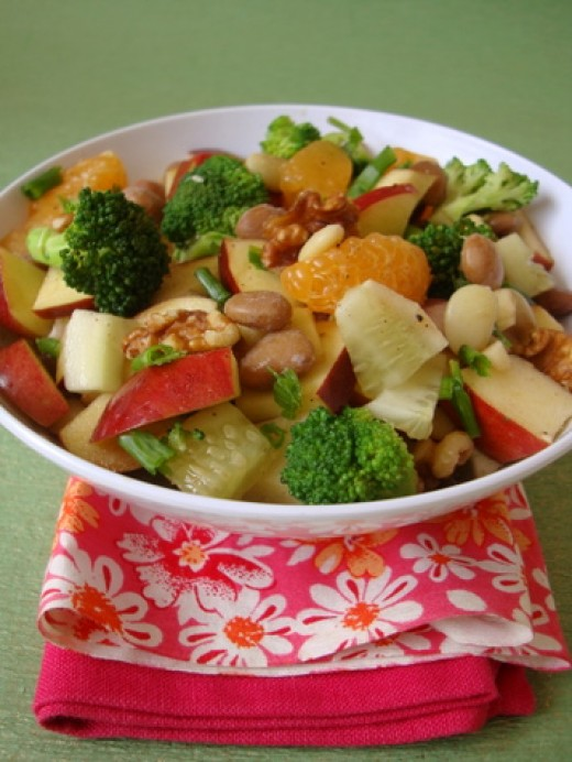 Cucumber Salad with apple, broccoli, mandarin orange segments, and Lima beans - photo from sailusfood.com