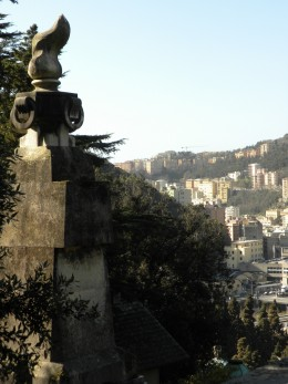 Genova, Italy- photo from the Eastern side of the city, high in the mountains.