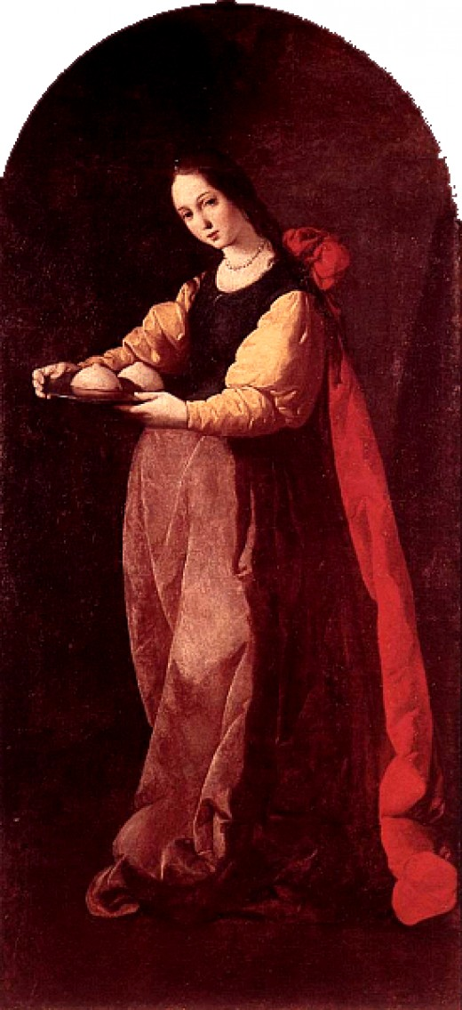 St Agatha with her breats on a platter.  Supposedly, this is how she suffered martyrdom for not getting it on with some Roman guy!