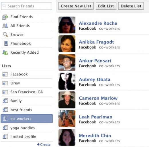 Inside FB - Create Friend List