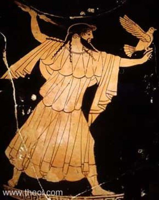 Zeus with eagle & lightning, Athenian red-figure amphora C5th B.C., Muse du Louvre, Paris