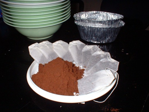 coffee powder and tea bags