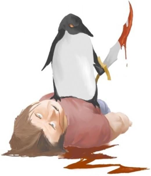 violent media. Penguin kills human