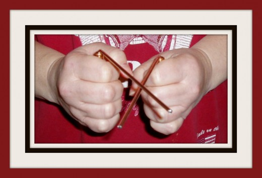 "Dowsing rods in a ""yes"" position for this dowser.  Photo by Jessica Gerber."