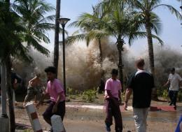 Dramatic photos and videos of the 2004 tsunami show a coastal flood of Biblical scale.