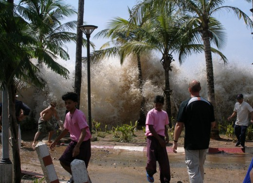 Dramatic photos and videos of the 2004 tsunami show a coastal flood of Biblical scale.