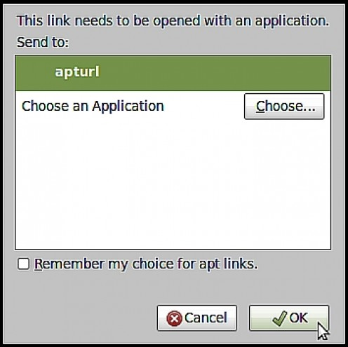 "The AptURL ""Open With"" Error displaying the ""This link needs to be opened with an application"" message. What you will see when you click on the ""Apt:somepackage"" link."