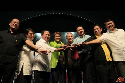 "OFFICIAL PRESIDENTIAL CANDIDATES IN MAY 2010 NATIOAL ELECTIOSN IN THE PHILIPPINES (From Left to Right: Benigno ""Noynoy"" Aquino III,John Carlos ""JC""    de los Reyes, Richard Gordon, Jamby Madrigal, Nicanor Perlas, Gilbert 'Gibo' Teodoro, Bro. Eddie Vi"