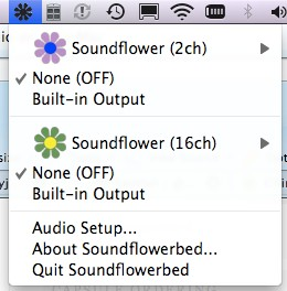 The SoundFlower pulldown menu from the task bar