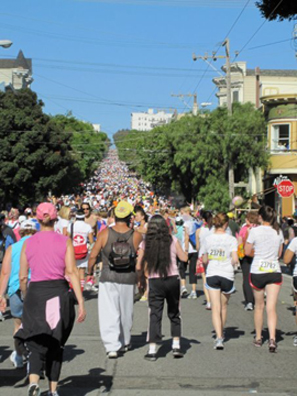 Bay to Breakers.  That's her at the top of the hill!  That's Joe, right there in the foreground