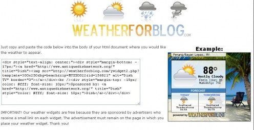 Copy & Paste WeatherForBlog Code in Your Blog / Website