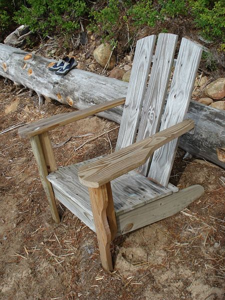 This typical Adirondack chair is often also called a plank chair.