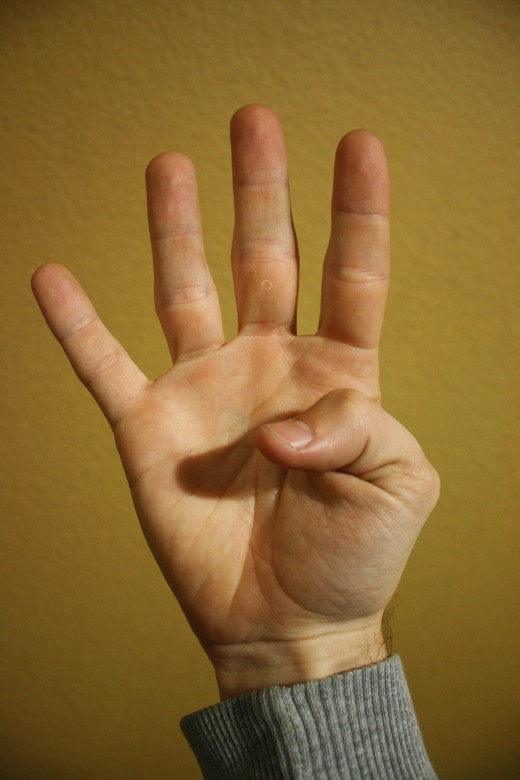 All fingers are extended, the thumb is pulled into the palm.