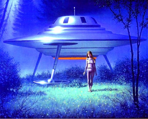 This is a typical artist rendering of what people consider to be a flying saucer. Here, the craft has landed and an alien is exploring.