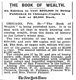 The Book Of Wealth - New York Times Advertisment 21 February 1898