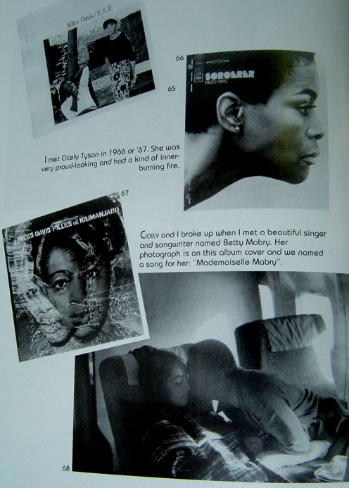Miles with album covers of his significant women