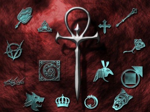Assembled around a traditional Ankh symbol are the various modern symbols used for the various Vampire Clans, both in tattoo art and role playing fetish.