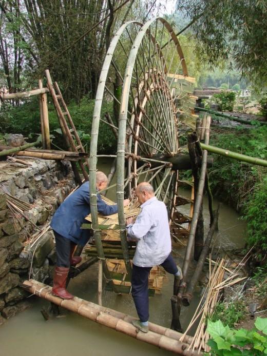 Bamboo Pass Under Water Wheel