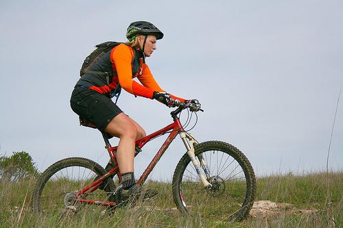 A man on a mountain bike trail.