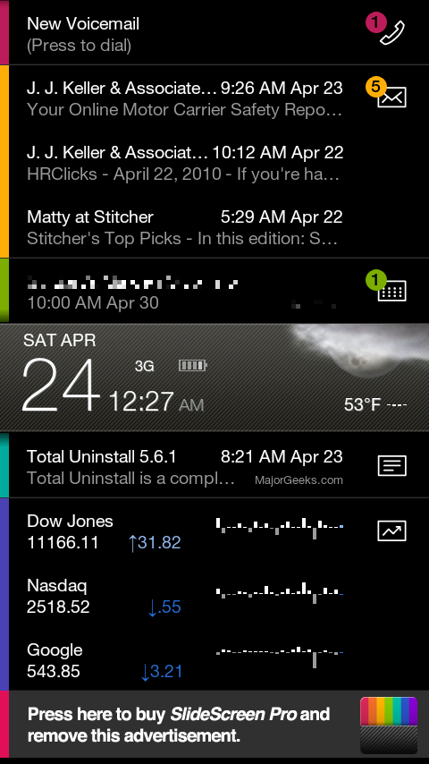 "SlideScreen. The central ""date"" bar is drag-able to make upper/lower area bigger/smaller."