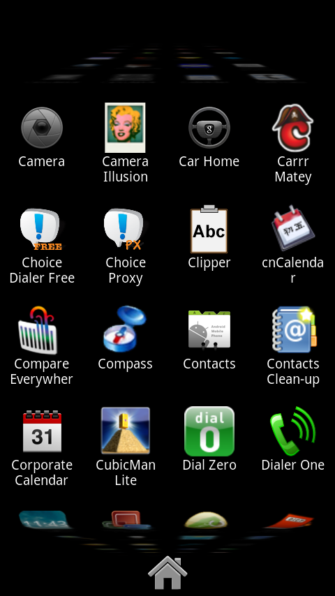 "HelixLauncher 2's ""app drawer"". It actually ""zooms"" in and out, and notice the top and bottom look like a ""ribbon"" scrolling."