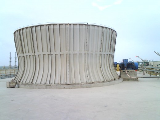 Induced draft cooling towers have gear reducers