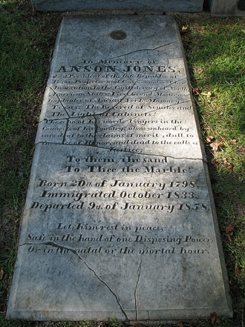 "Anson Jones' grave marker at Glenwood Cemetery in Houston, Texas.  The marker honors Jones as Grand Master of the Texas Masons, and as ""Consummator of [Texas']Annexation to the Confederacy of North American  States""."