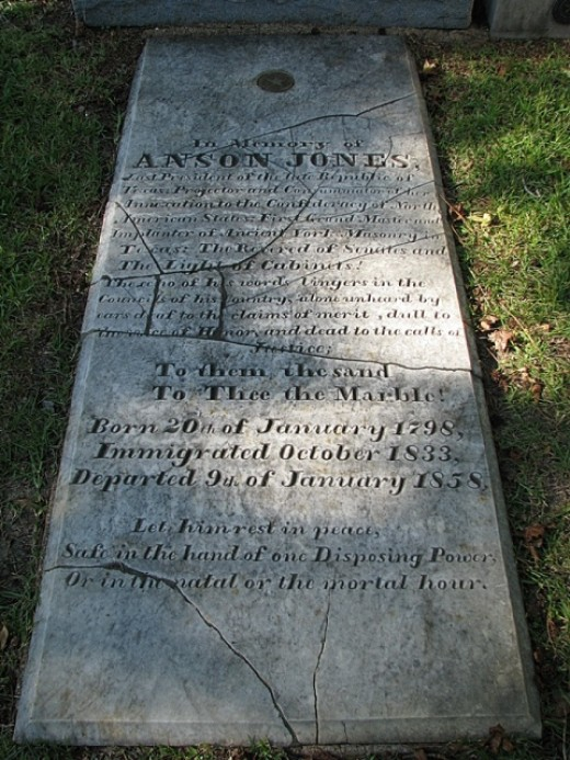 """Anson Jones' grave marker at Glenwood Cemetery in Houston, Texas.  The marker honors Jones as Grand Master of the Texas Masons, and as """"Consummator of [Texas']Annexation to the Confederacy of North American  States""""."""