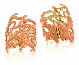 Kenneth Jay Lane Faux Coral Cuff  This cuff is very vibrant and it actually brings natural liveliness since this cuff features a coral-colored 22-karat gold-plated enamel material.