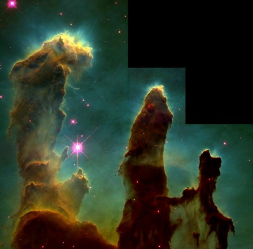 Possibly Hubble's most famous image - the Eagle Nebula (M16): Pillars of Creation in a Star-Forming Region