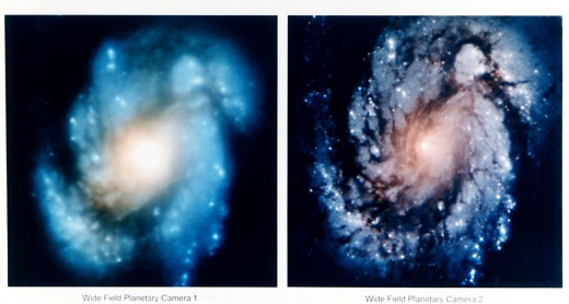 Hubble images before and after the first Shuttle repair mission. Photo courtesy of NASA.