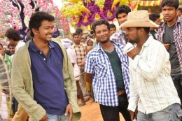 Vijay on the sets of KAVALKARAN