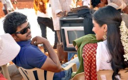 Vijay and Asin on the sets of KAVALKARAN