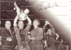 Bobby Charlton Holds Up The European Cup