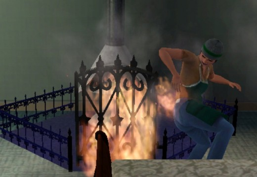 This has nothing to do with stuck Sims, I just think its amusing that some sims manage to catch themselves on fire by running through flames.