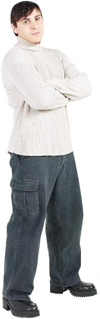 A sweater might work if you wear dress pants, but if you put it with baggy pants - think again.