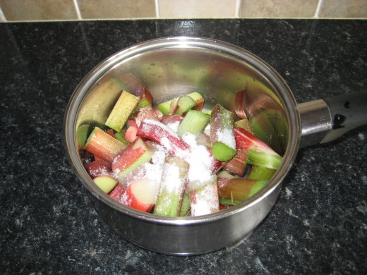 rhubarb can be cooked up as compote.