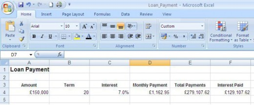 Loan payments calculated using the PMT function